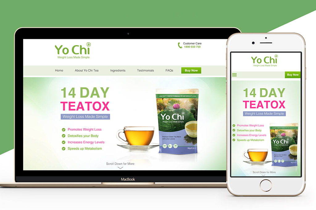 website design for weight loss tea