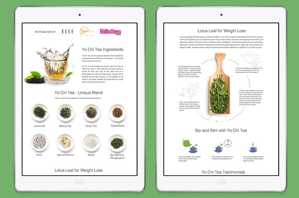 detail of website design for slimming tea