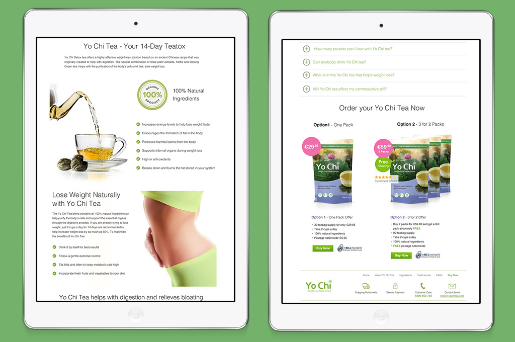detail of website design for weight loss tea