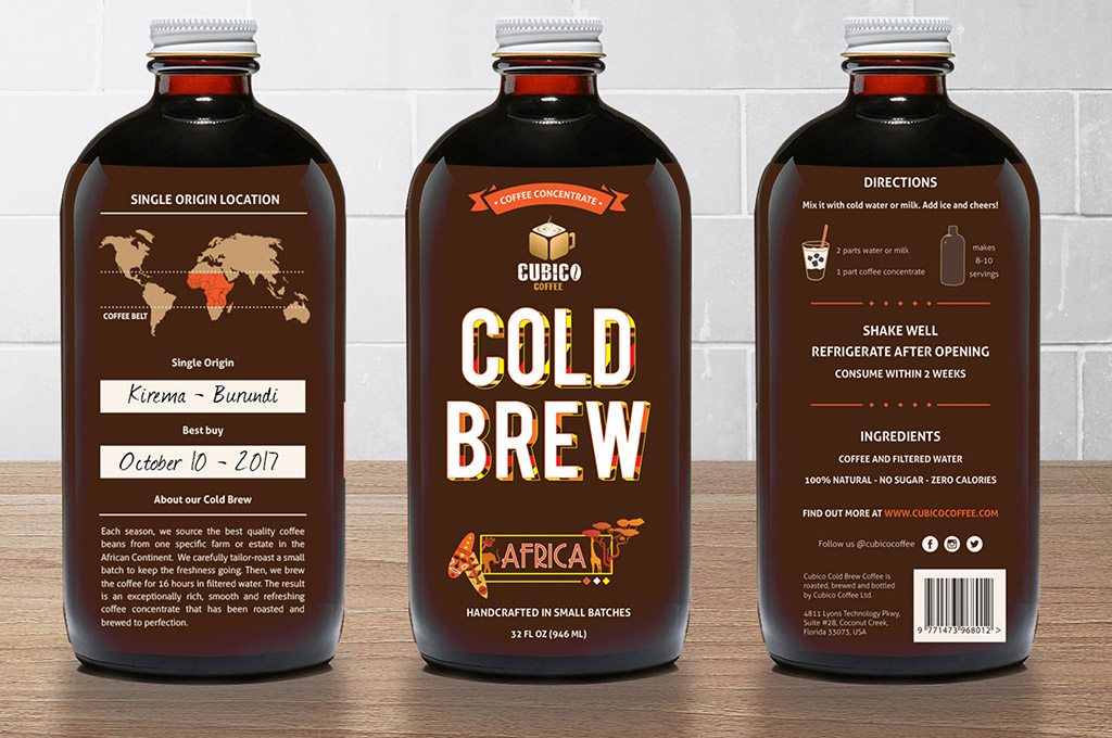 details of cold brew coffee label design