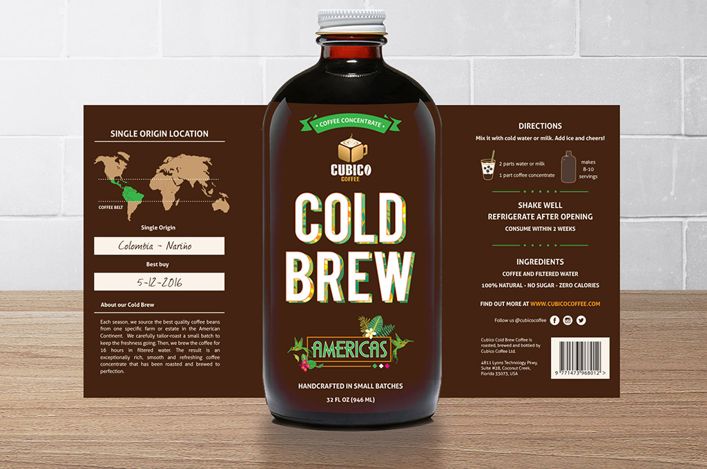 details of label for cold brew coffee