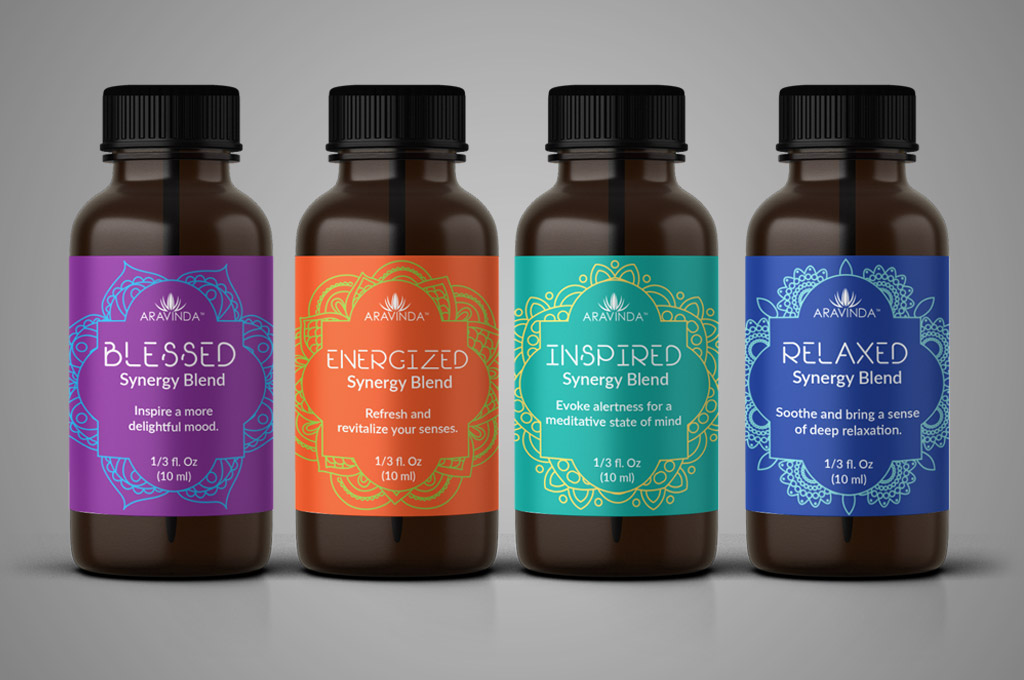 set of 4 aromatherapy essential oils label design