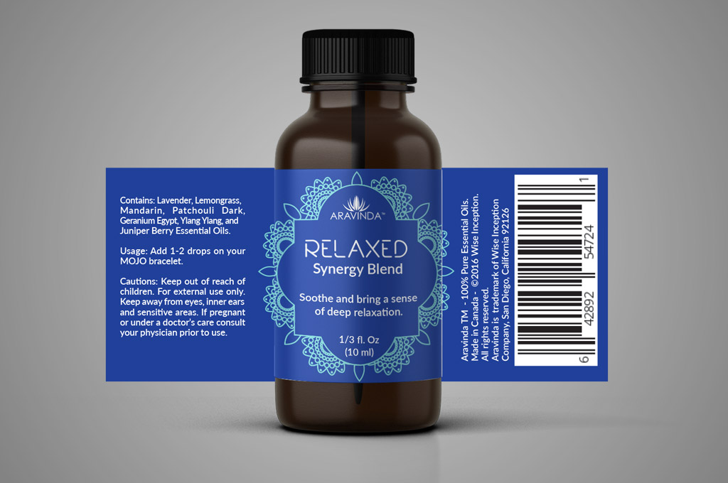 detail of essential oils label design