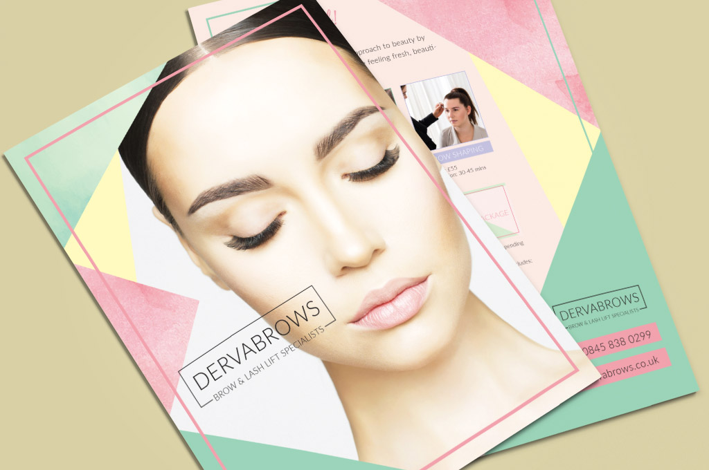 detail of flyer design for eyebrow salon