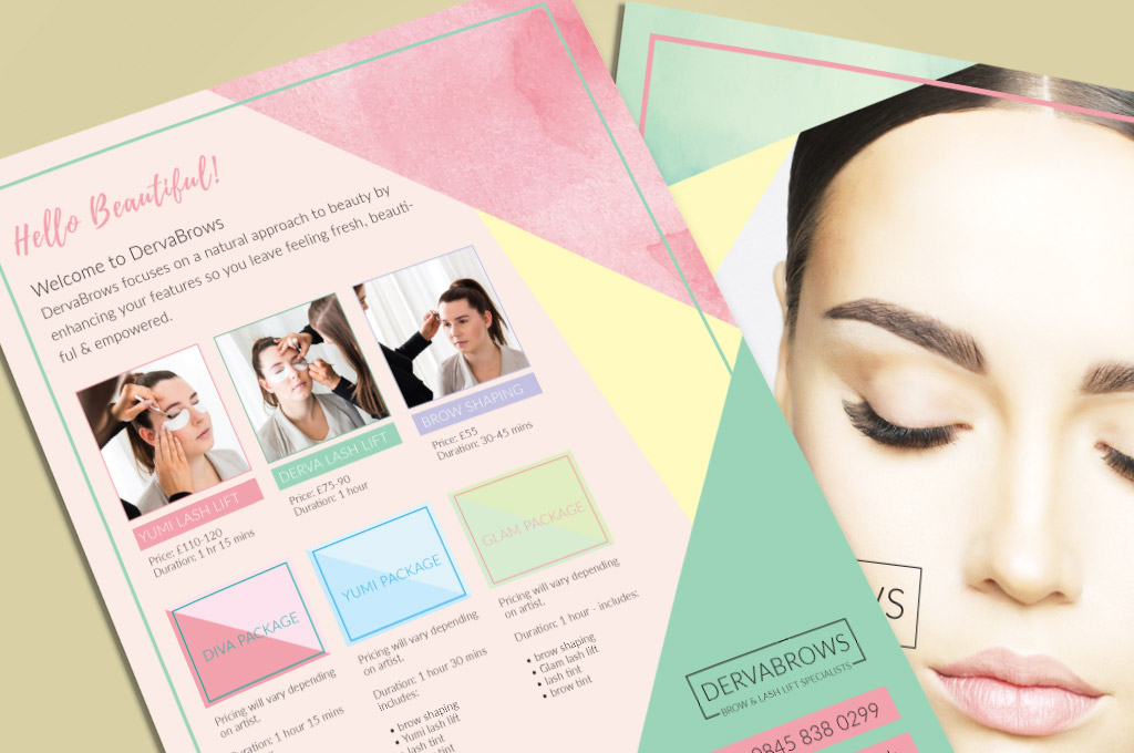 close up of flyer design for eyebrow salon