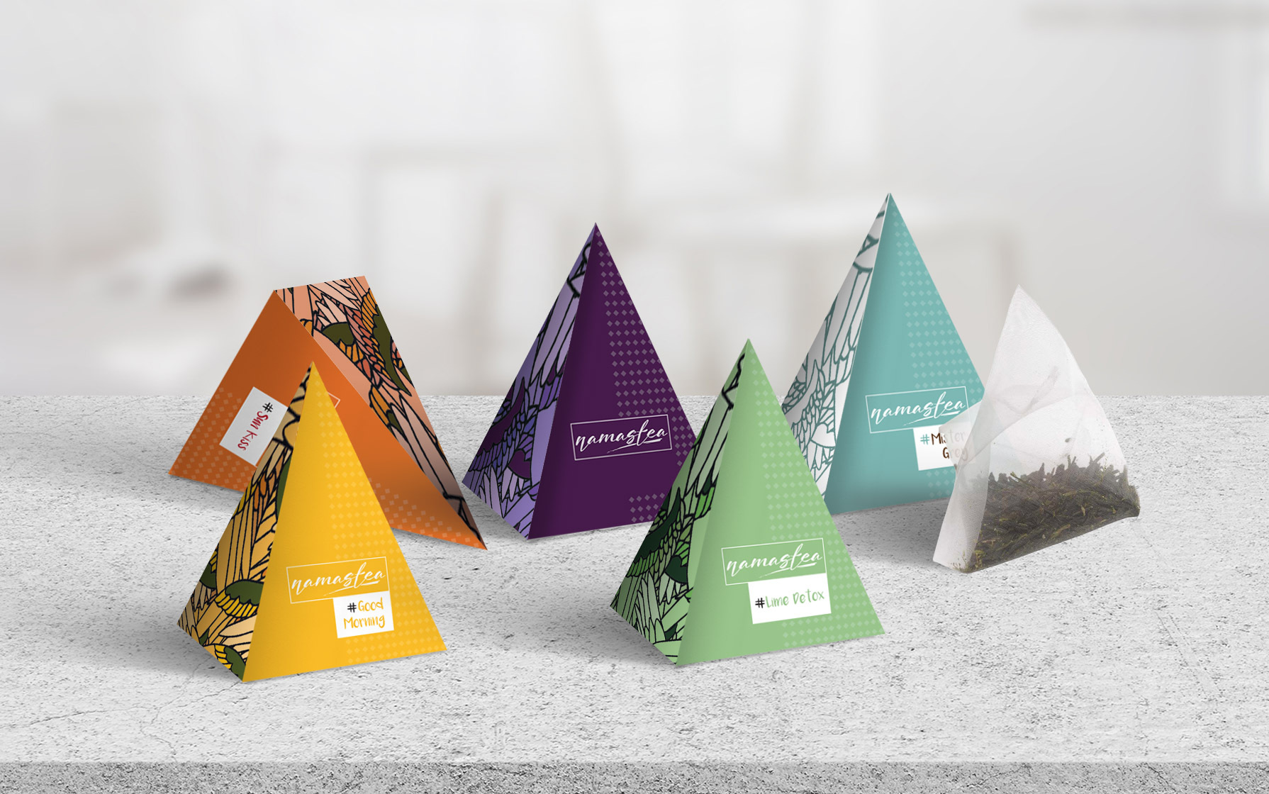 triangle tea packaging design