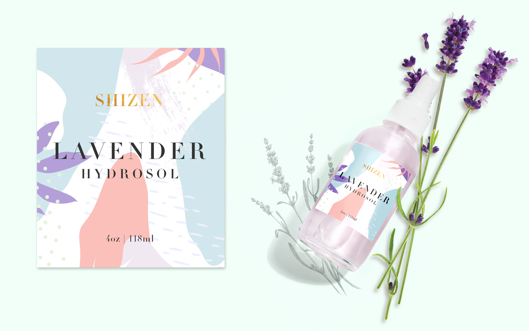 lavender hydrosol label design